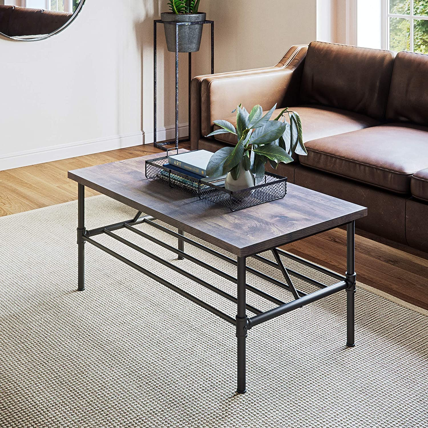 Amazon com nathan james 31301 maxx industrial pipe metal and rustic wood coffee table 41 gray black kitchen islands carts