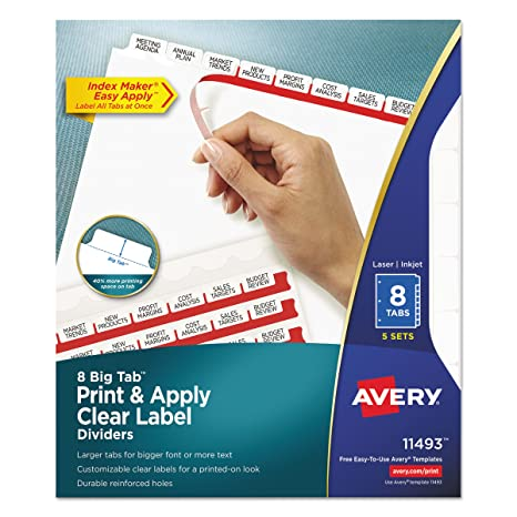 Amazon Avery Big Tab Dividers Print Apply Clear Label