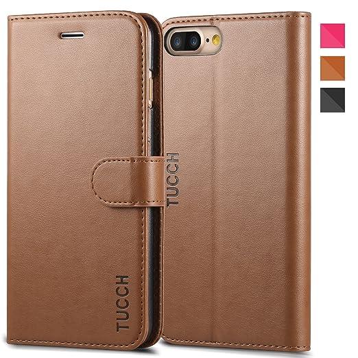 21 opinioni per Custodia iPhone 7 Plus, TUCCH Cover in Pelle [GARANZIA DI VITA], Supporto Stand,
