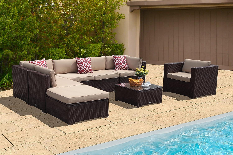 PATIOROMA Outdoor Patio Furniture Sectional Sofa Set (8-Piece Set)