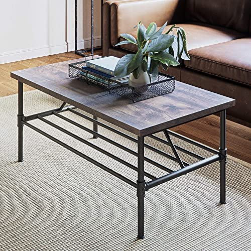 Nathan James 31301 Maxx Industrial Pipe Coffee Table, 41 Inch Matte Metal Frame, Rustic Gray Black