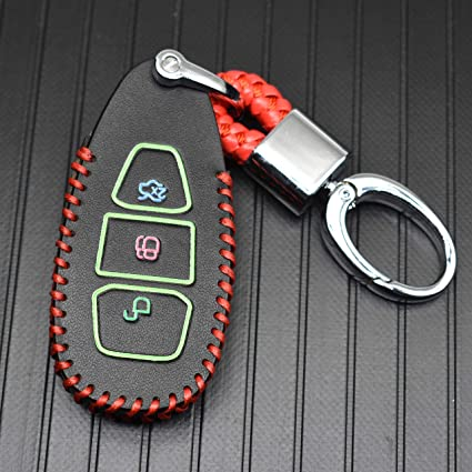 ontto 3 Buttons PU Leather Key Fob Cover Case Skin Bag Protector Jacket with Keychain Fit for Ford Kuga Mondeo Ecosport Focus 3 MK3 Red String