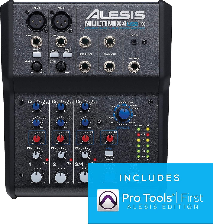 Alesis MultiMix 4 USB FX - Mezclador de estudio compacto de 4 canales con efectos incorporados e interfaz de audio USB para grabación en estudio doméstico