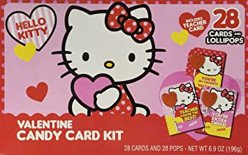 Hello Kitty Valentines Day Candy Card Kit 28 Cards And Lollipops Includes  Teacher Card