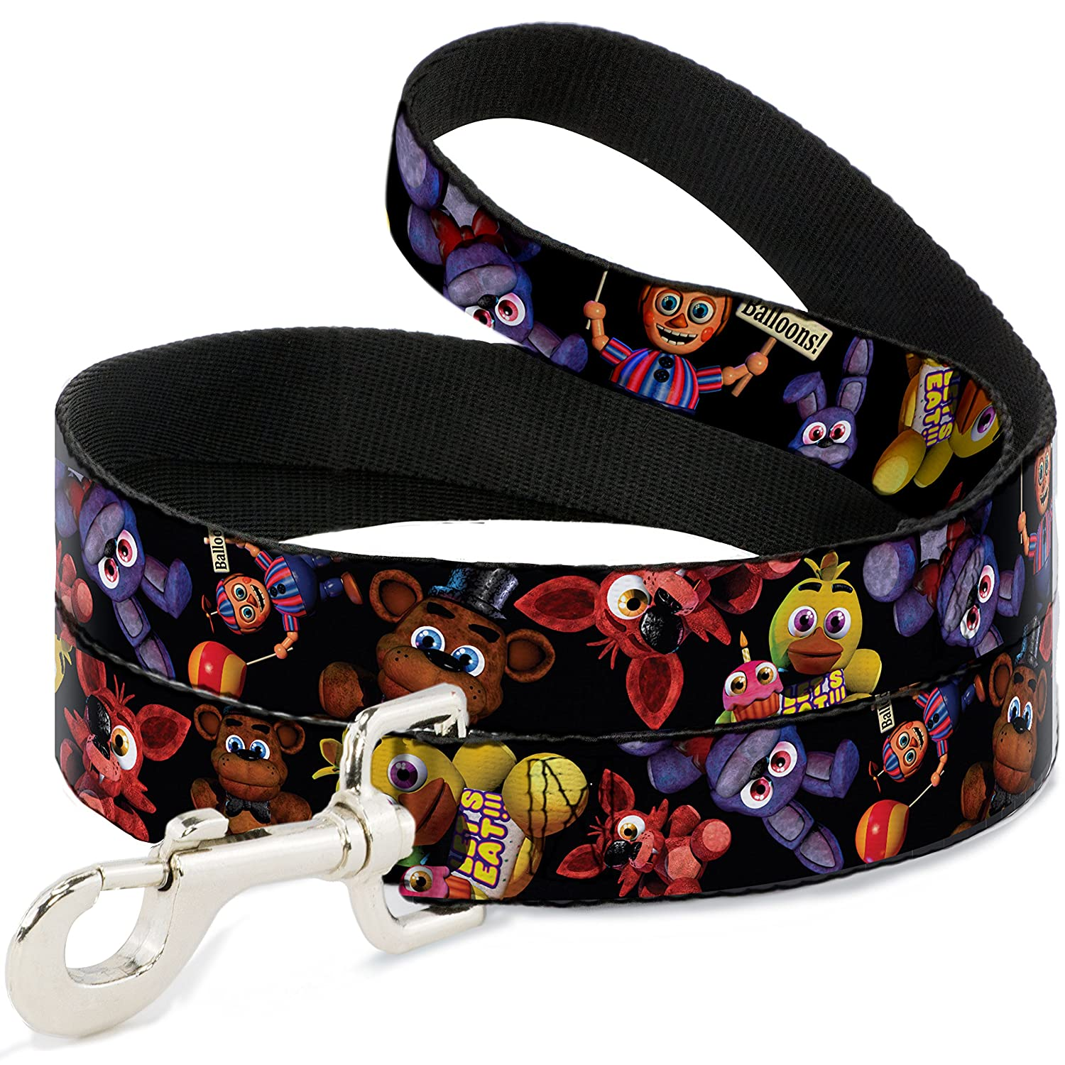 6Ft. Long  1.0 Inches wide Regular Buckle-Down Five Nights at Freddy's 4 Plushies Scattered Black  Dog Leash, 6'