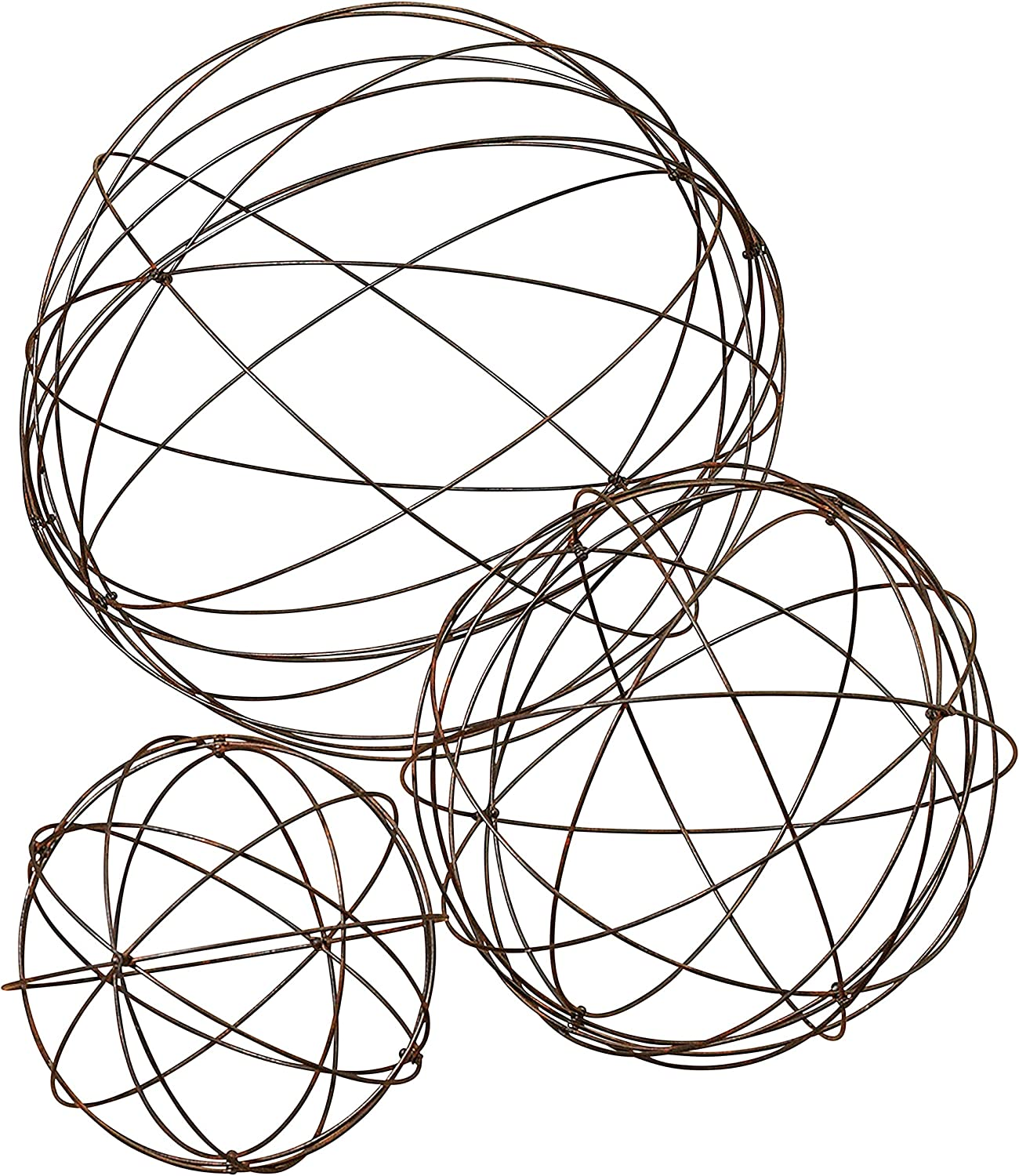 Set of 3 Assorted Sized Wire Garden Spheres