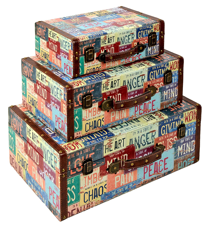 ts-ideen 3er Set Reise Koffer als Kommode Truhe Box Holztruhen Antik Shabby Vintage Holzkiste