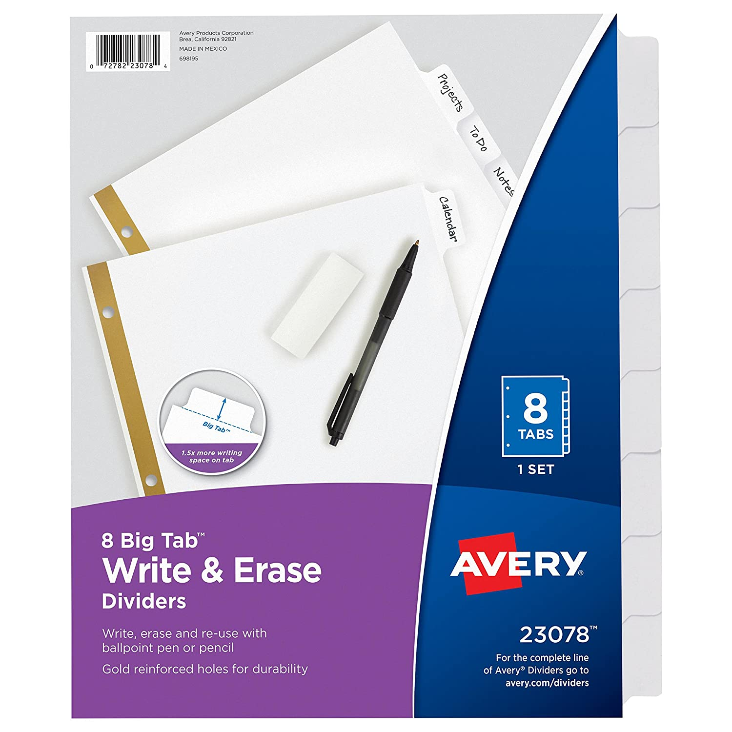 Avery Big Tab Write & Erase Dividers, 5 White Tabs, Case Pack of 48 Sets (23075) Avery Products Corporation 5007278223075