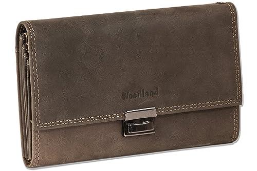 Woodland - mayor camarero cartera con monedero reforzada adicional hecha de piel de ante suave, sin tratar en Brown oscuro/Taupe