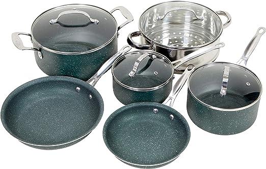Amazon.com: OrGREENiC Diamond Granite 10 Piece ALL in One Cookware ...