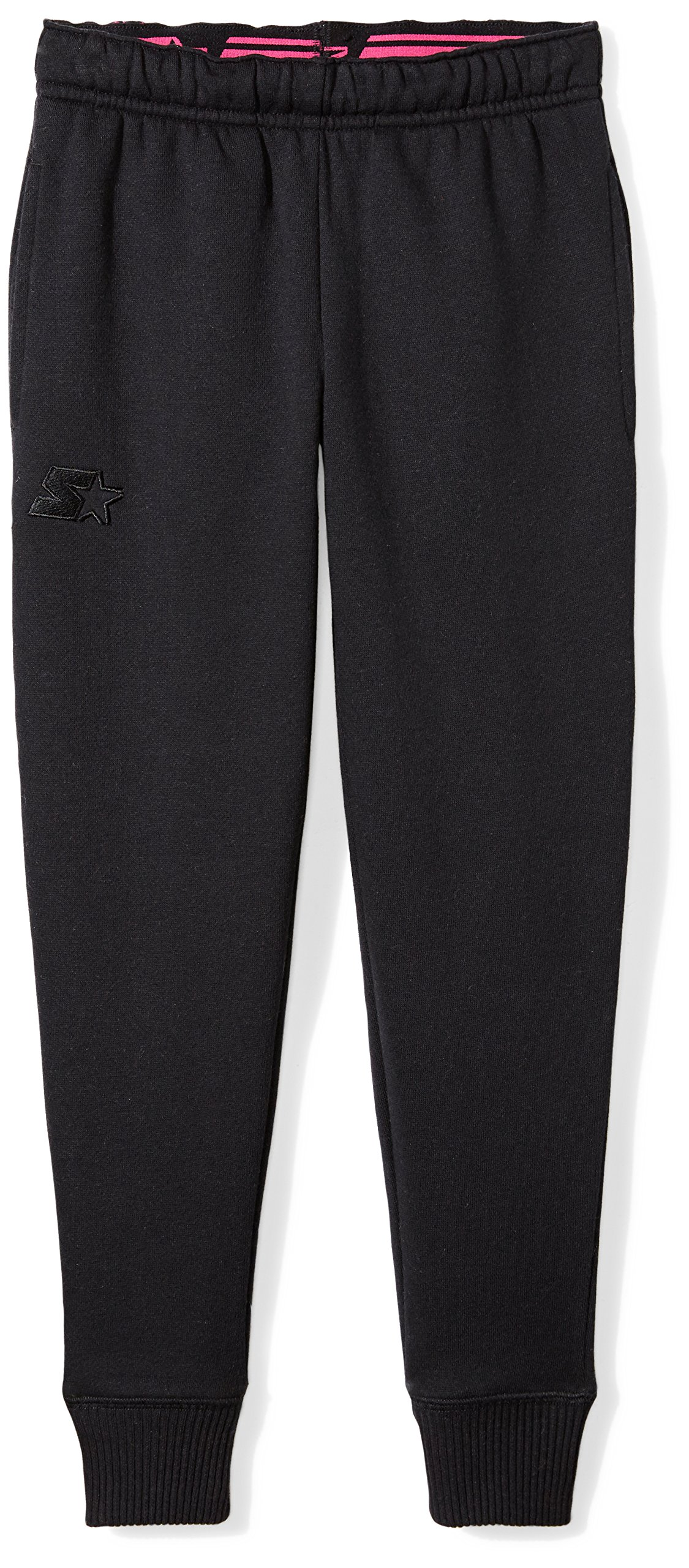 Starter Girls' Jogger Sweatpants with Pockets, Prime Exclusive, Black with Embroidered Logo, XL (14/16)