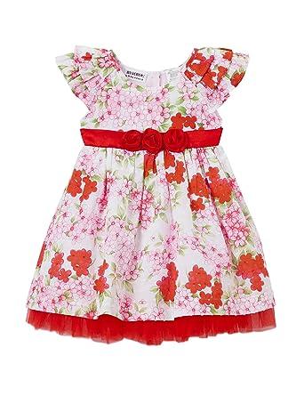 72125273b375 Blueberi Boulevard Baby Girls Floral Print Flutter Sleeve Dress, Pink (6/9  Months