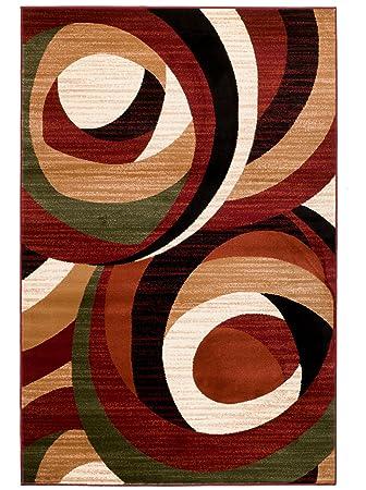 Amazon Com New Burgundy Black Green Swirl Area Rug Modern Design
