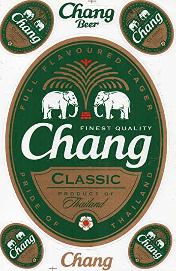 Chang Beer Decal Sticker Tuning Racing Sheet Size 27 x 18 cm for Car or Motorbike