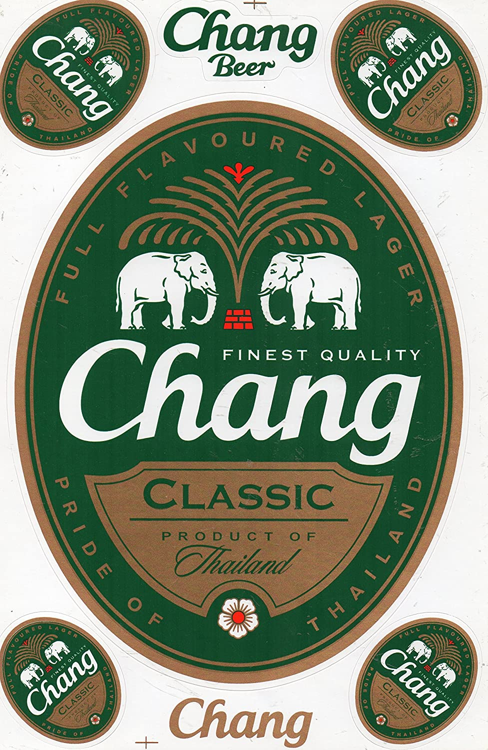 Chang Beer Decal Sticker Tuning Racing Sheet Size: 27 x 18 cm for Car or Motorbike by soljo A560-Beer