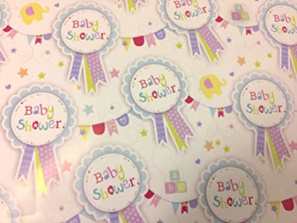BRAND NEW UNISEX BABY SHOWER GIFT WRAPPING PAPER 2 SHEETS AWU GIFT TAG S