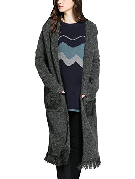 Yeokou Women's Casual Open Front Midi Long Thick Knit Hoodie ...