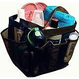 Mesh Shower Caddy Tote plus PVC Zipper Bag - Bathroom Caddy for Gym Camp College Dorm Room, Black