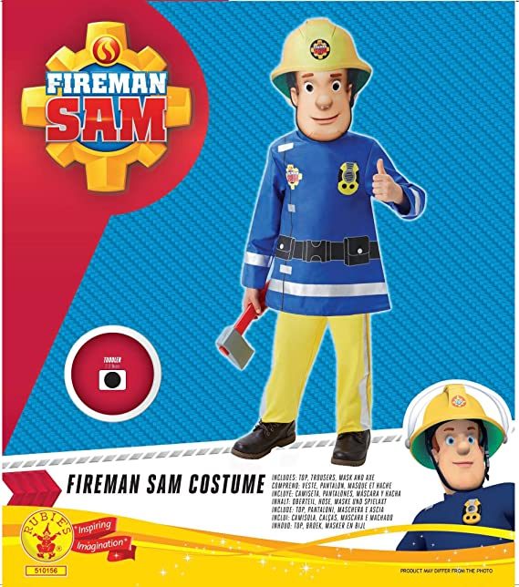 Amazon.com: Fireman Sam Children's Costume Age 2-3 Years: Clothing