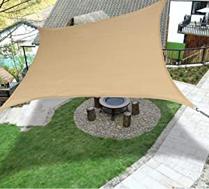 LOVE STORY 6'5'' x 9'10'' Rectangle Sand Sun Shade Sail Canopy UV Block Awning for Outdoor Patio Garden Backyard