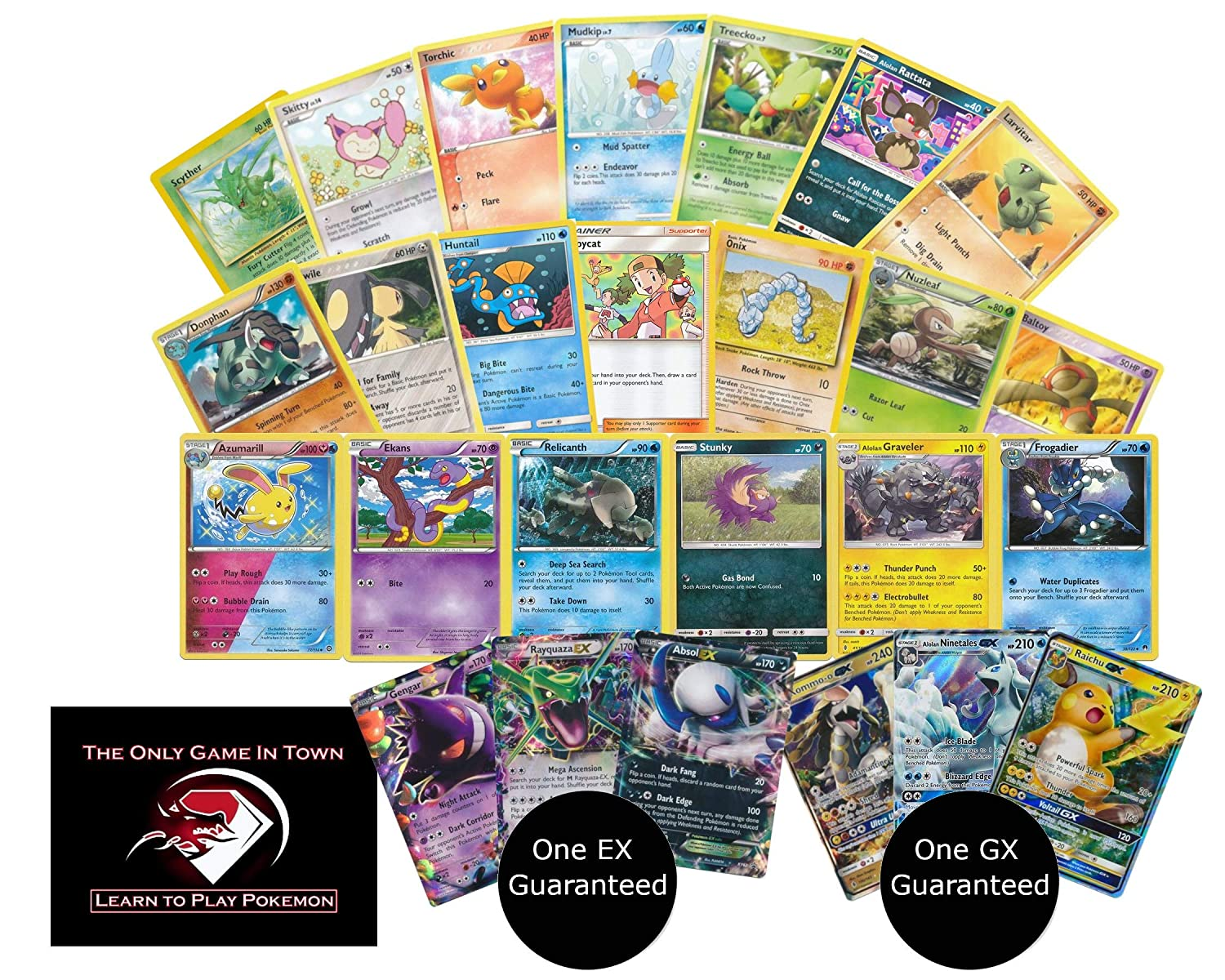 100 Pokemon Cards With 1 Ex And 1 Gx Ultra Rare Cards Plus Learn How To Play Pokemon Card Game Instructions
