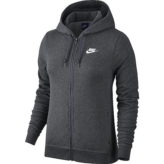 66527c8f NIKE Sportswear Women's Full Zip Hoodie, Charcoal Heather/Charcoal  Heather/White, X