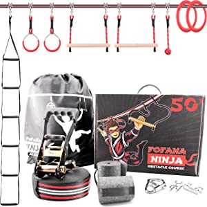 Ninja Warrior Obstacle Course for Kids - 50' Ninja Slackline Obstacle Course | Bonus Freestyle Rings and Climbing Ladder Obstacles | Adjustable Position | Monkey Bars | Outdoor Play Equipment for Kids