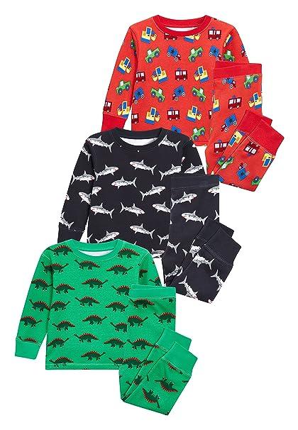 next Niños Pack De Tres Pijamas Cómodos con Dinosaurios/Tiburones (9 Meses - 8