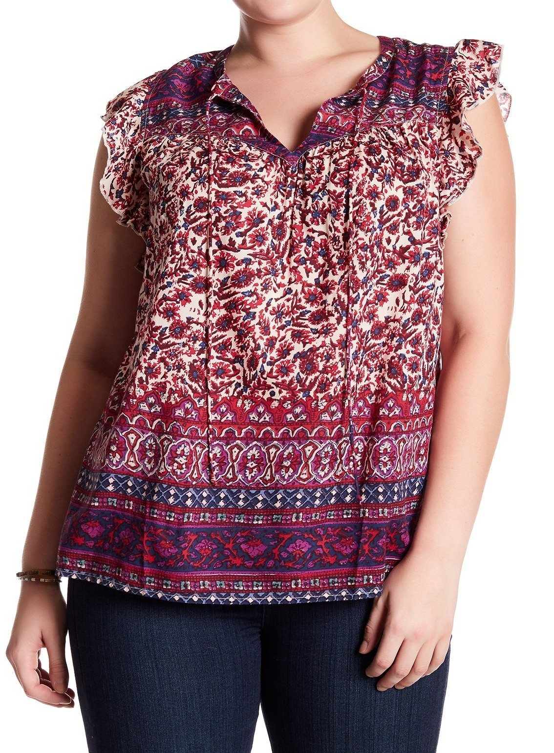 Lucky Brand Women's Plus Size Lucy Peasant Top, Purple/Multi, 1X