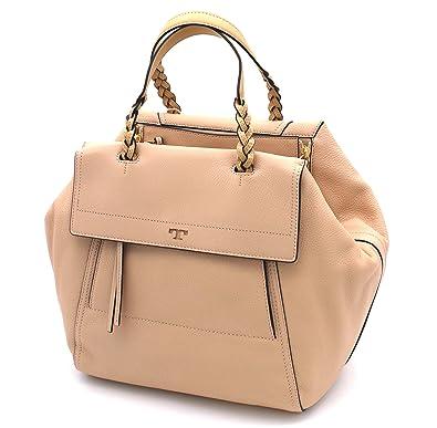 9b130618d656 Tory Burch Half-Moon Pebbled Leather Large Satchel (Sand Dune)  Handbags   Amazon.com