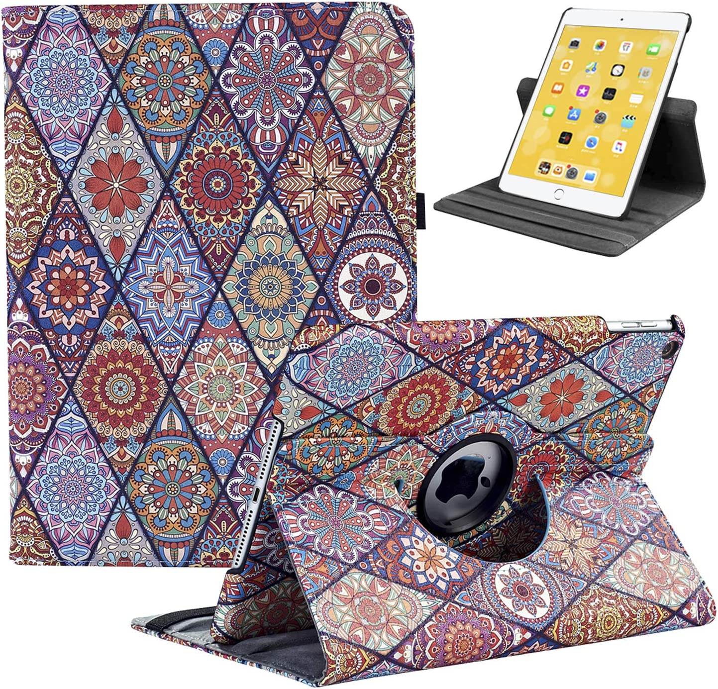"LRCXL New iPad 8th Generation Case 2020, iPad 7th Generation Case 2019 - 360 Degree Rotating Stand Protective Cover with Auto Sleep Wake for Apple iPad 10.2""(Polygon Pattern)"