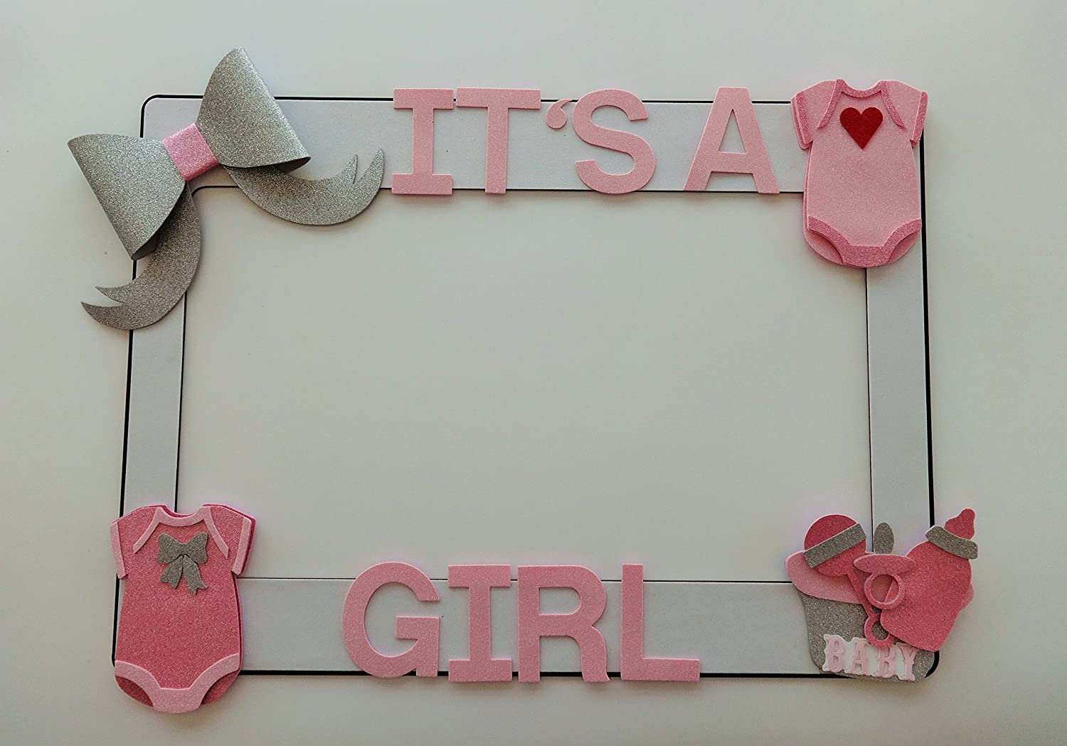 Amazon.com: 1 Frame with Baby Shower Embellisments MDF and Glitter ...