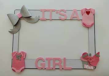 1 Frame With Baby Shower Embellisments MDF And Glitter Foam Its A Girl Baby  Shower