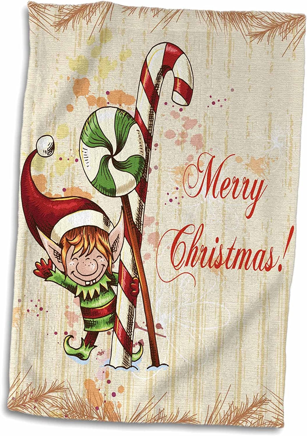 3D Rose Cute Elf Peppermint Candy Cane Merry Christmas Xmas Holiday Greeting Hand//Sports Towel 15 x 22 Multicolor