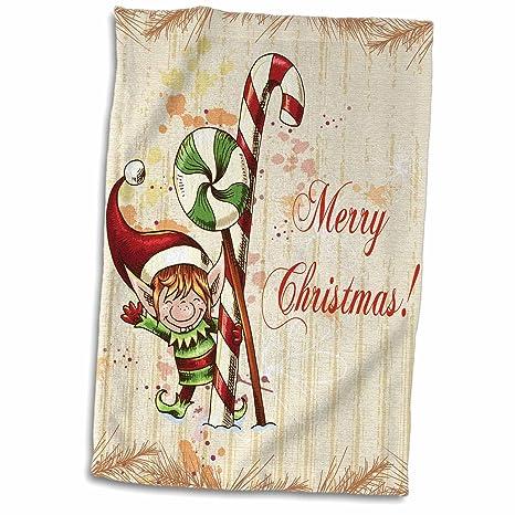 3dRose - Toalla de Navidad con diseño de Elfo con Menta y caña de Caramelos,