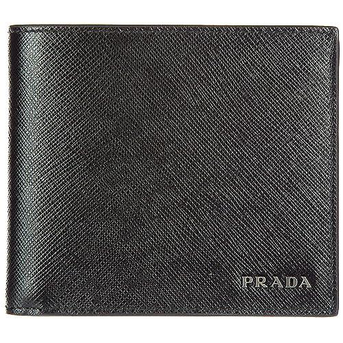 f37452128b Prada portafoglio portamonete uomo in pelle bifold nero: Amazon.it: Scarpe  e borse