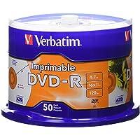 Verbatim 95137 Discos Grabables DVD-R, 4.7 GB, hasta 16x, Cubierta Blanca Imprimible con Inyección de Tinta, Torre de 50 Unidades