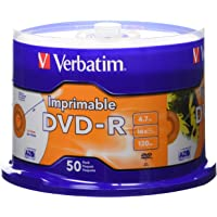 Verbatim DVD-R 4.7GB 16X White Inkjet Printable with Branded Hub - 50pk Spindle