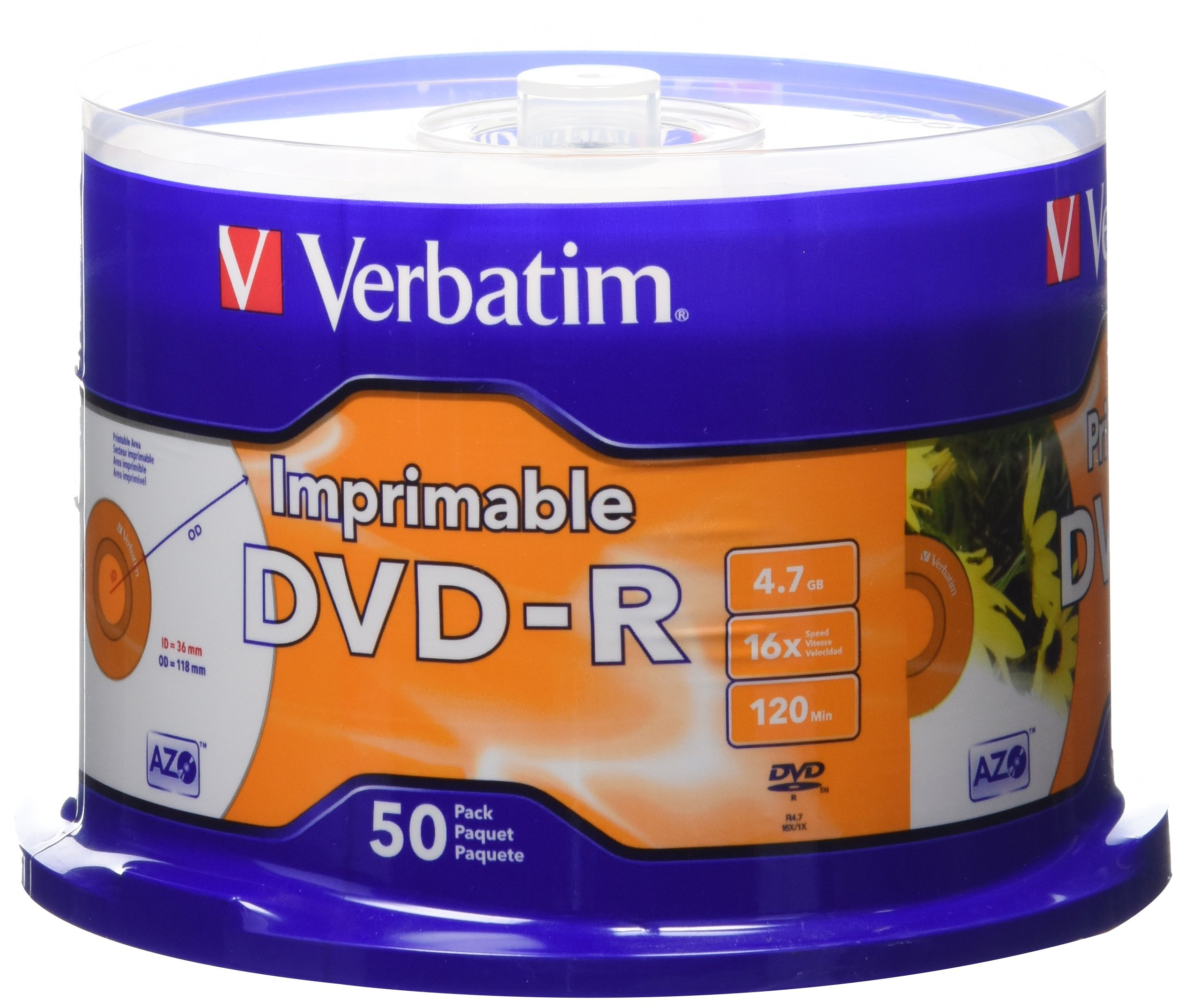 Verbatim 4.7GB up to 16x White Inkjet Printable Recordable Disc DVD-R, 50-Disc Spindle 95137