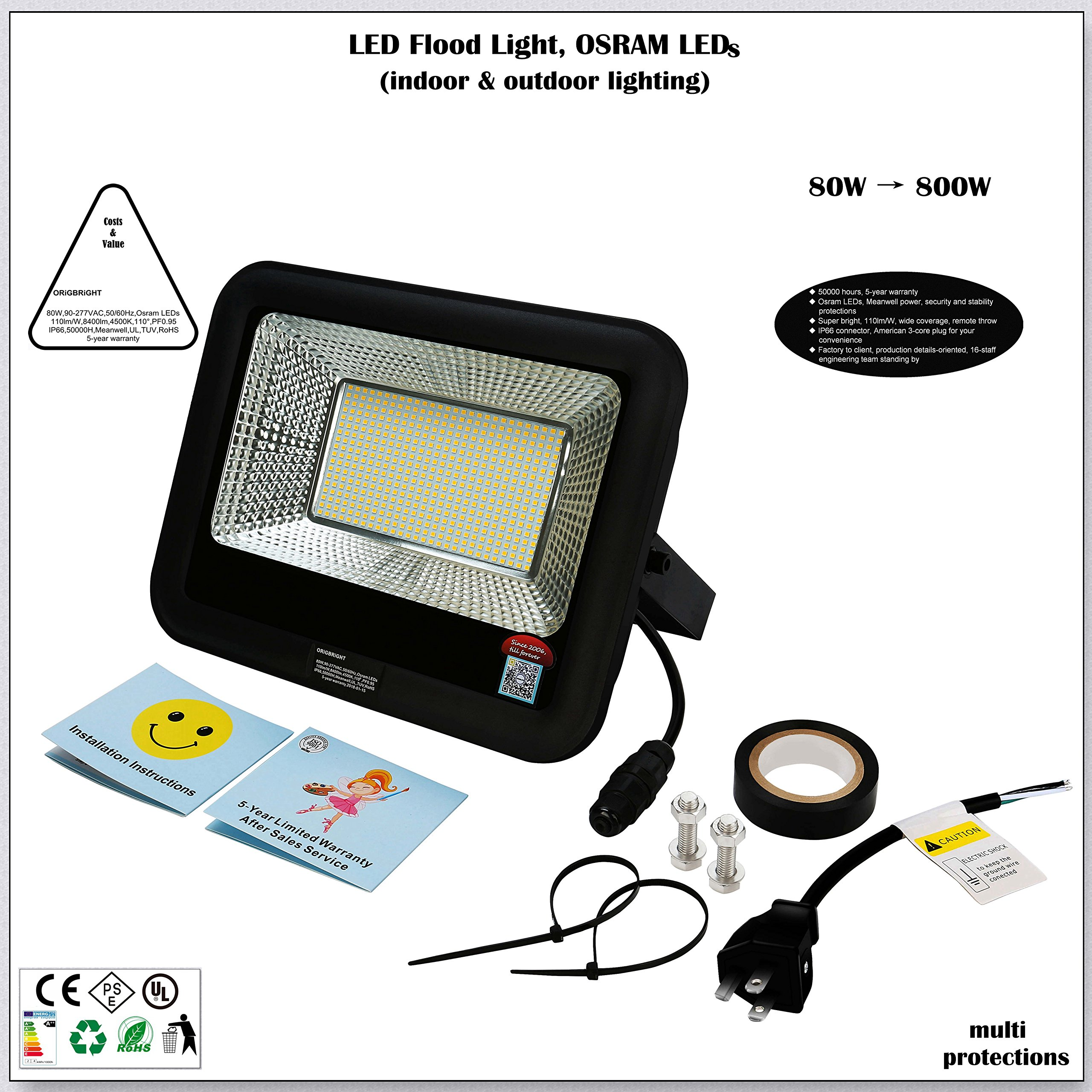 80W LED Flood Light, Work Light, Osram LED, 118lm/W 9252lm, 4500K, Meanwell Power, IP66,UL, 5-Year Warranty, Stability & Security Protections, US Plug, for Indoor,Outdoor, Baseball Field, Tennis Court
