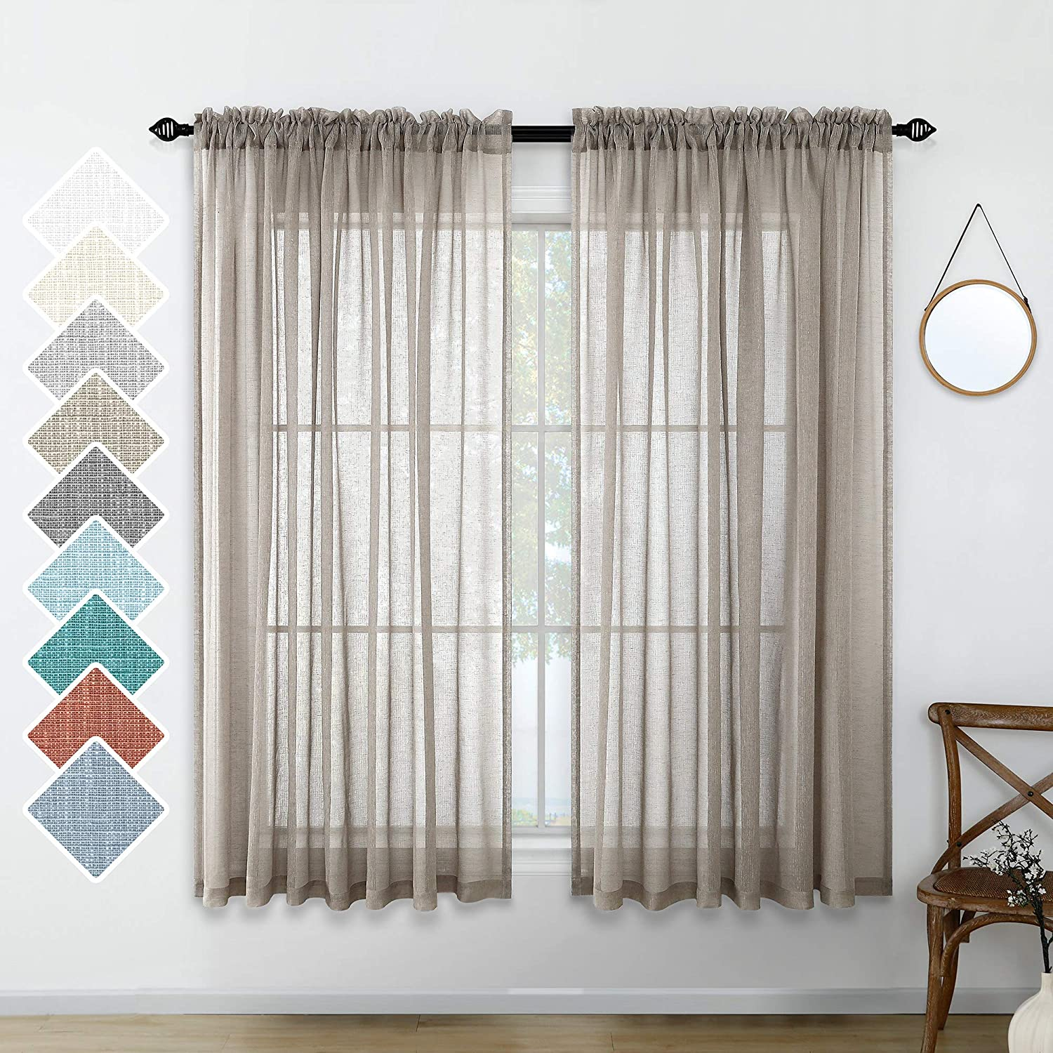 Taupe Sheer Curtains 45 Inches Long for Bedroom 2 Panels Rod Pocket Elegant Rustic Farmhouse Curtains for Kitchen Window Semi Sheer Faux Linen Drapes for Bathroom Laundry Beach Decor 52x45 Inch Length