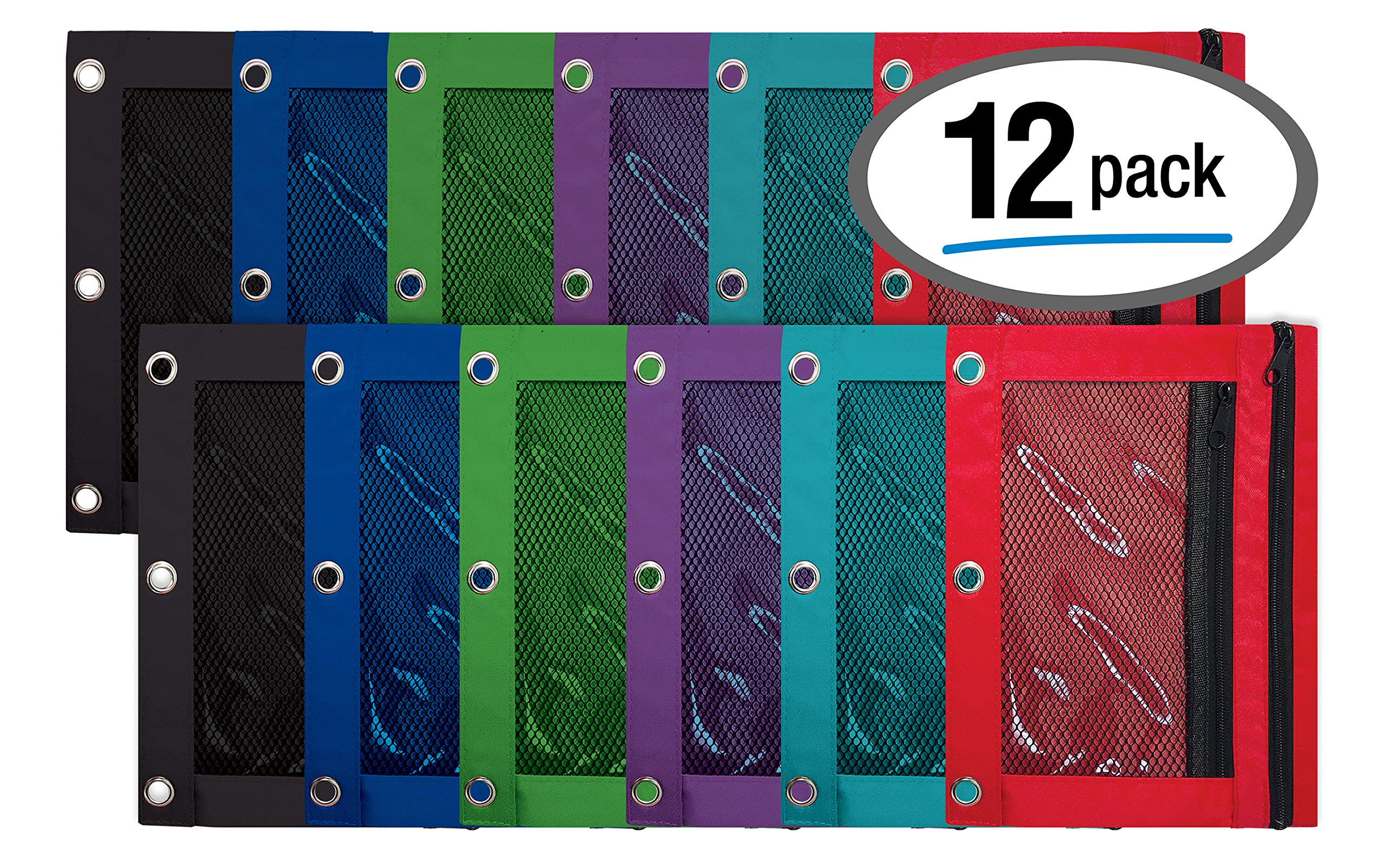 3 Ring Pencil Pouch, 12 Pack, with Mesh Window, 2 Compartments, Assorted Colors