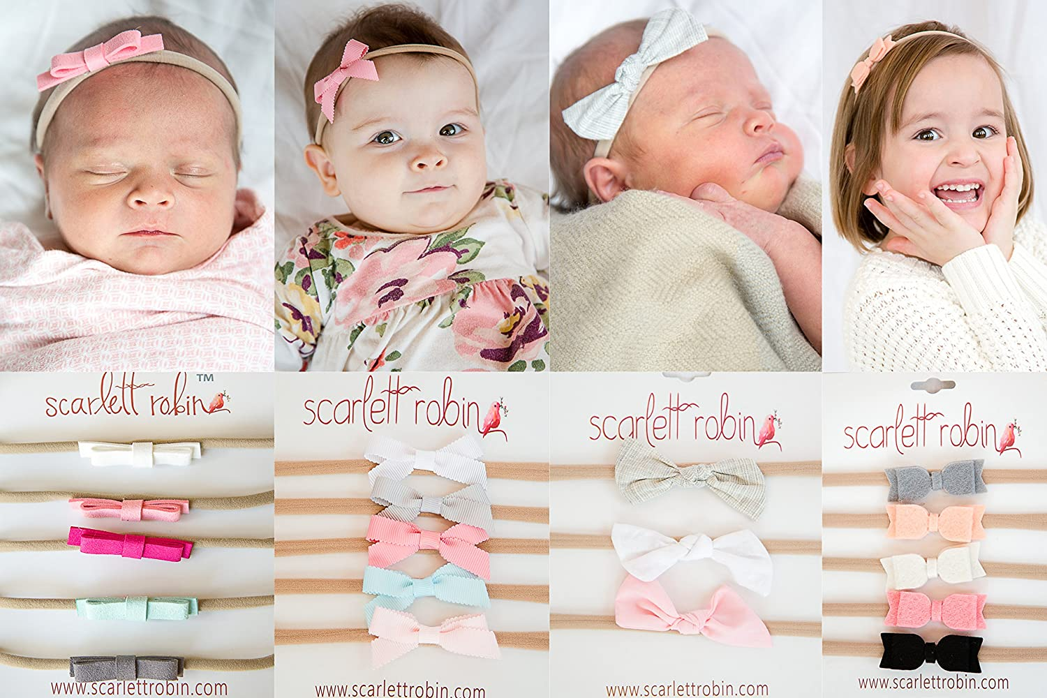 f8675cfd69641 18 Baby Girl Hair Bows on Nylon Headbands | Sweet Starter Pack | By  Scarlett Robin