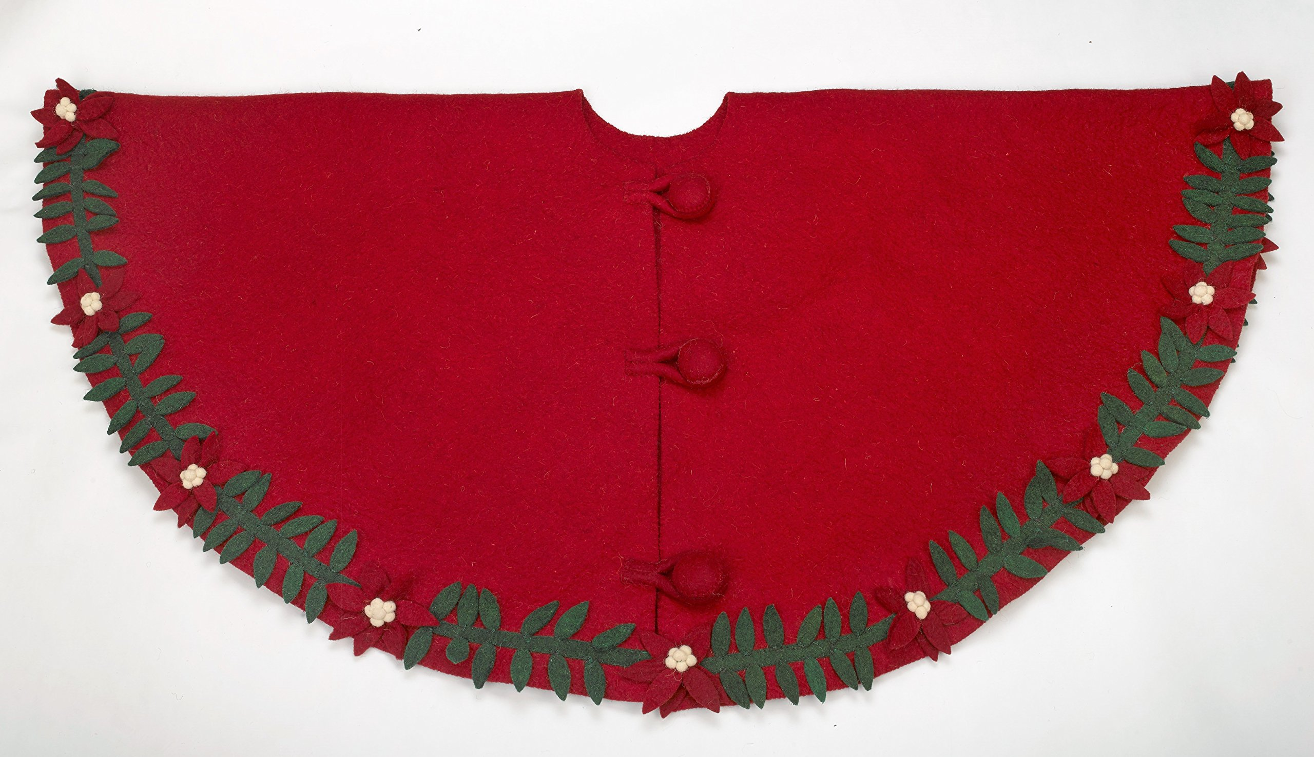 Arcadia Home Poinsettia Wreath Tree Skirt in Hand Felted Wool