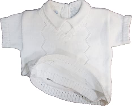 Dempsey Marie White Sweater Shorts Set 100/% Cotton Baby Boys Infant Christening Baptism