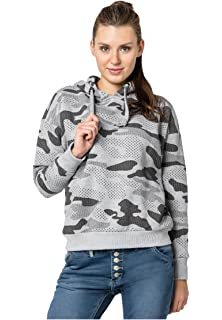 ae49666652d4 Sublevel Damen Camouflage Sweat Hoodie   Kapuzenpullover   Oversize-Schnitt  Sweatshirt mit Kapuze