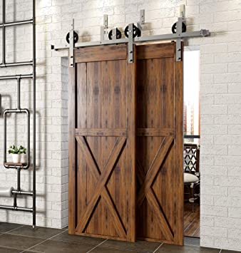Homacer puerta corredera de granero hardware de acero inoxidable cepillado níquel de una sola puerta Kit, 5FT Flat Track diseño clásico rodillo, uso interior exterior resistente: Amazon.es: Bricolaje y herramientas