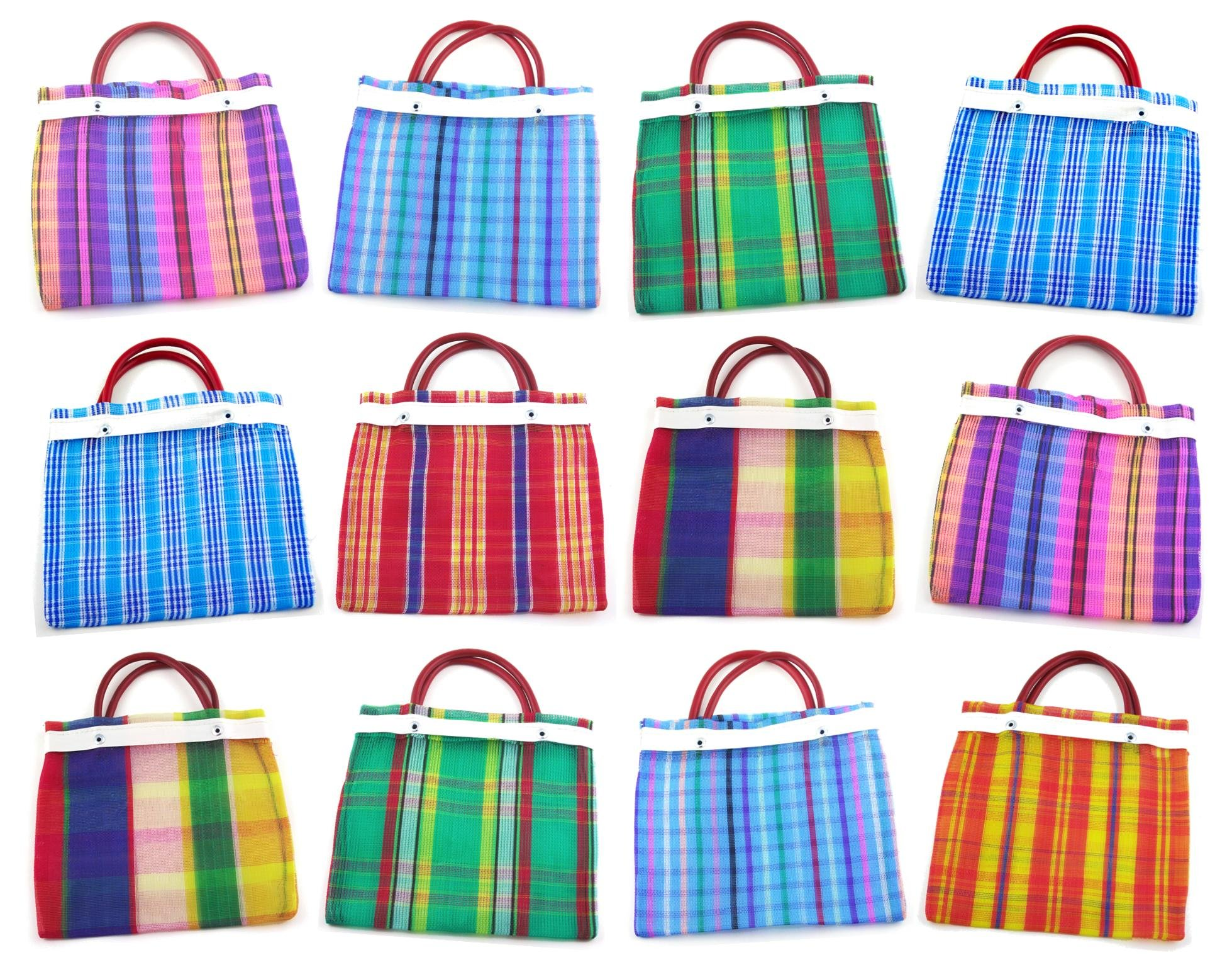 Small Mexican Tote Mercado Bags 7.5'' by 7.5'' - Assorted Colors - Set of 36 by MoreFiesta