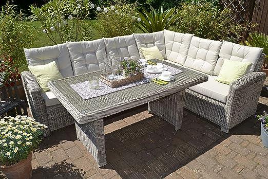 Juego de muebles de jardín Manhattan de 2 piezas, sofá de jardín gris + mesa + tapicería beige I comedor para terraza + jardín de invierno I lado largo del sofá izquierdo: Amazon.es: Jardín