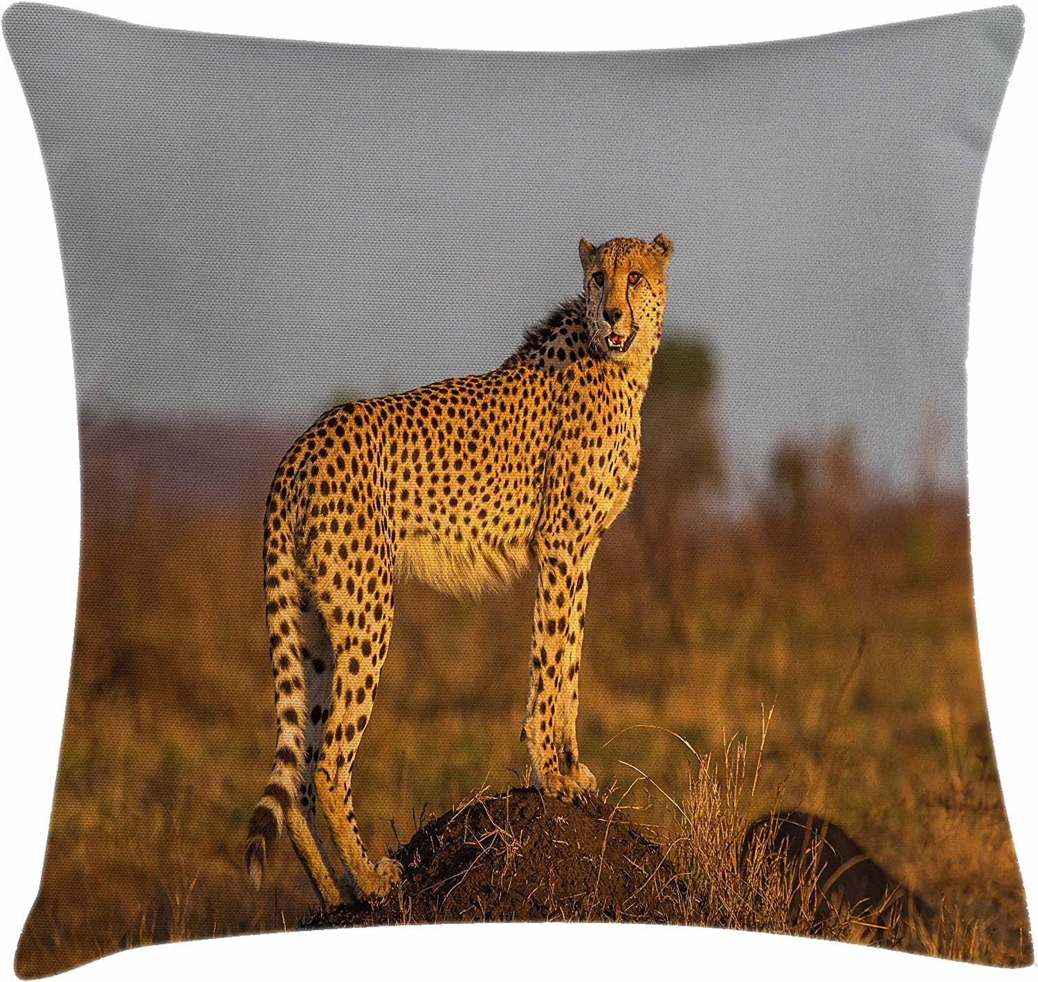 Ambesonne Safari Throw Pillow Cushion Cover, Wild Animal Cheetah Standing on Termite Mound Savannah Nature View, Decorative Square Accent Pillow Case, 16